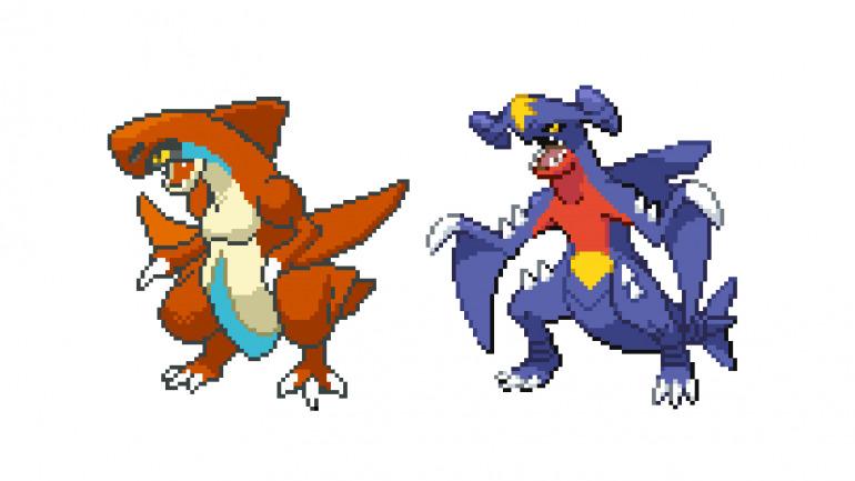 Beta de Garchomp a la izquierda, final a la derecha. Comparativa de Dr Lava en Twitter.